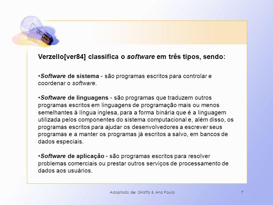 Verzello[ver84] classifica o software em três tipos, sendo:
